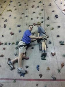 Daddy and Wiggy climbing